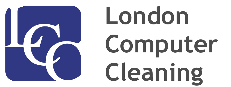 "London Computer Cleaning Logo with Text ""London Computer Cleaning"""