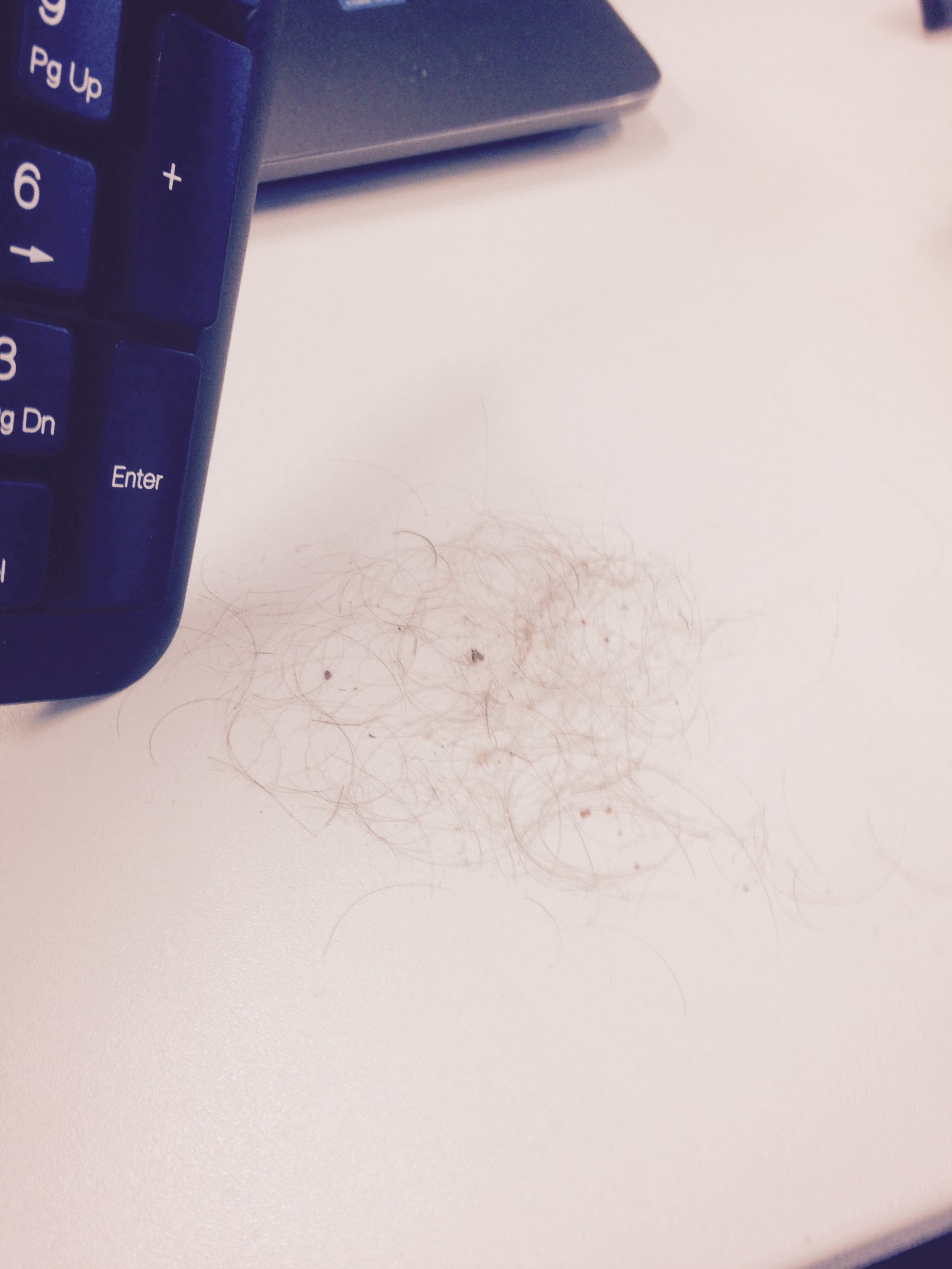 Hair from after cleaning a dirty keyboard