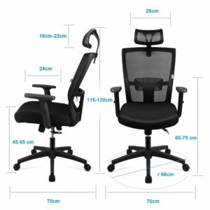 Ergonomic Office Chair Mesh Chair Heavy Duty Office Chair, Adjustable Headrest and Armrest, Home Office Chair with Tilt Function and Position Lock