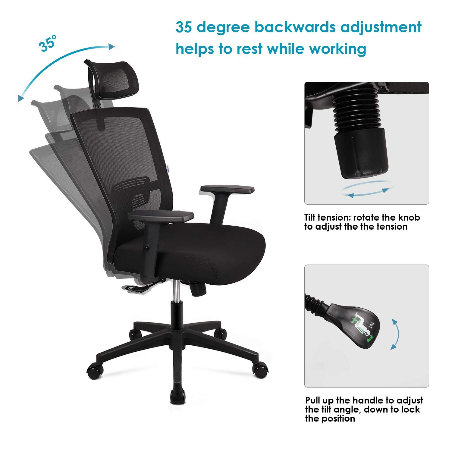 Ergonomic Office Chair Mesh Chair Heavy Duty Office Chair Adjustable Headrest And Armrest Home Office Chair With Tilt Function And Position Lock London Computer Cleaning