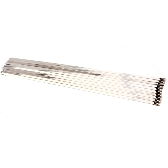 100pcs/set 4.6x300mm Stainless Steel Exhaust Wrap Coated Locking Metal Cable Zip Ties Induction Pipe Header New 3