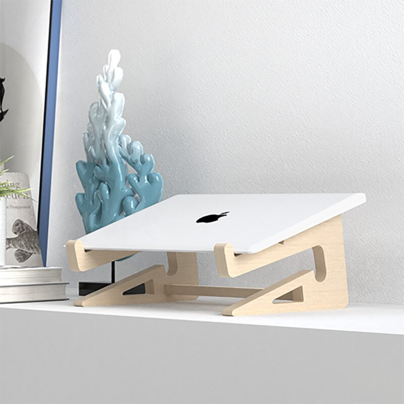 Wood Laptop Stand Holder Increased Height Storage stand for Macbook 13 15 Inch Notebook Vertical Base Cooling Stand Mount 5