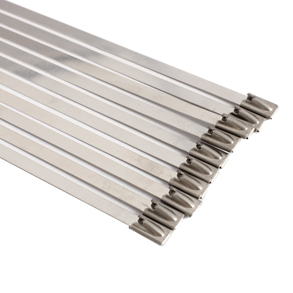 100pcs/set 4.6x300mm Stainless Steel Exhaust Wrap Coated Locking Metal Cable Zip Ties Induction Pipe Header New 5
