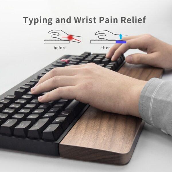Walnut Wooden Mechanical Keyboard Wrist Rest with Anti-Slip Mat Ergonomic Gaming Desk Wrist Pad Support 61 87 104 Keys 2