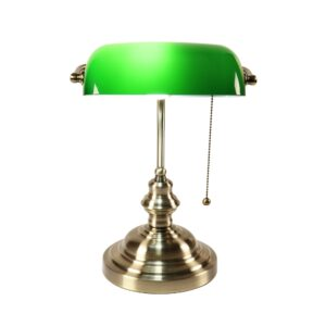 Retro industrial Classical E27 banker table lamp  Green glass lampshade cover with switch desk lights for bedroom study reading