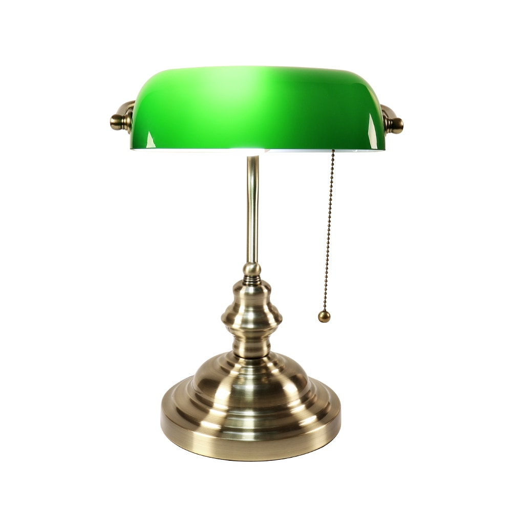 Retro industrial Classical E27 banker table lamp  Green glass lampshade cover with switch desk lights for bedroom study reading 1