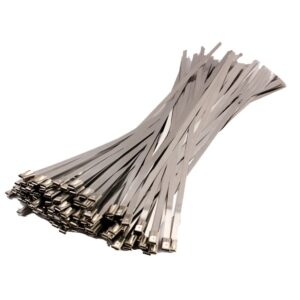 100pcs/set 4.6x300mm Stainless Steel Exhaust Wrap Coated Locking Metal Cable Zip Ties Induction Pipe Header New