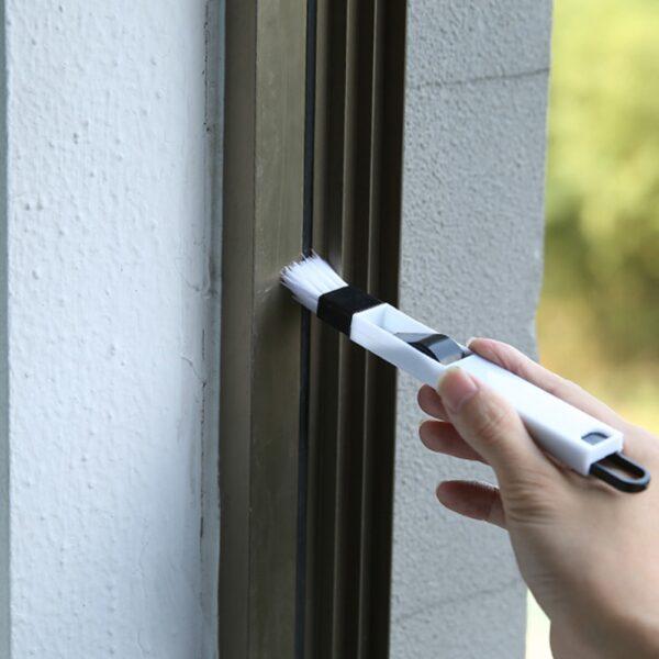 Door Window Slot Groove Cleaning Small Brush With Dustpan Dead Corner Keyboard Nook Brush Window Cranny Dust Shovel Clean Tools 5