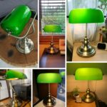 Retro industrial Classical E27 banker table lamp  Green glass lampshade cover with switch desk lights for bedroom study reading 6