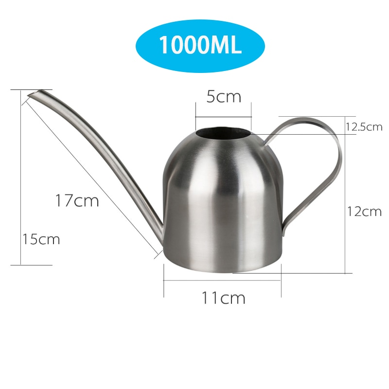 Long Mouth Water Can Stainless Steel Watering Pot Garden Flower Plants Watering Cans 500ML /1000ML Kettle Gardening Tool 7