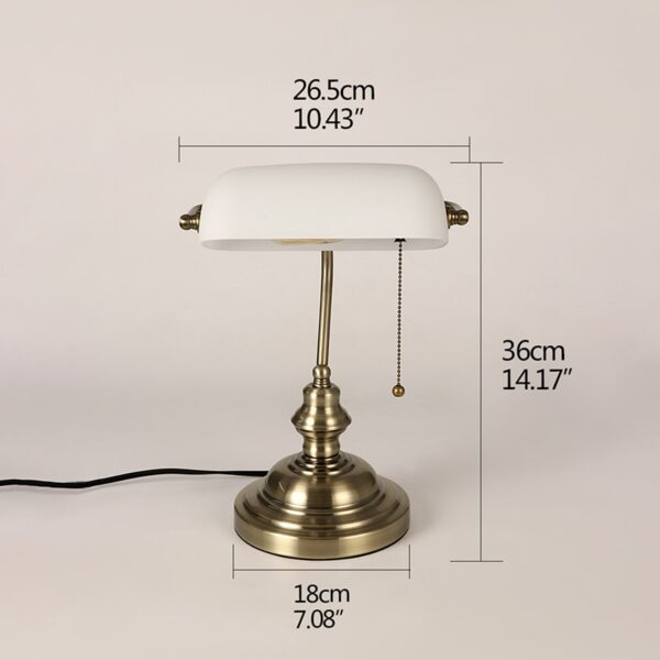 Retro industrial Classical E27 banker table lamp  Green glass lampshade cover with switch desk lights for bedroom study reading 2