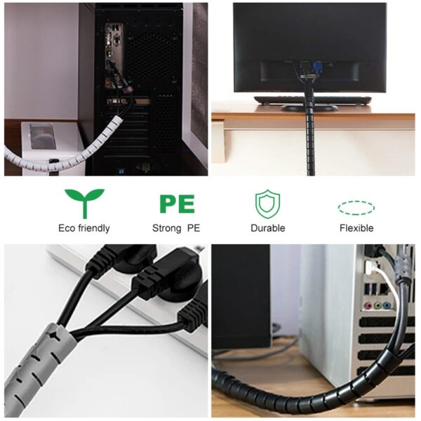 Line Organizer Pipe Protection Spiral Wrap Winding Cable Wire Protector Cable Sleeve Cover Tube Flexible Management 3