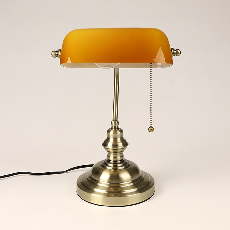 Retro industrial Classical E27 banker table lamp  Green glass lampshade cover with switch desk lights for bedroom study reading 3
