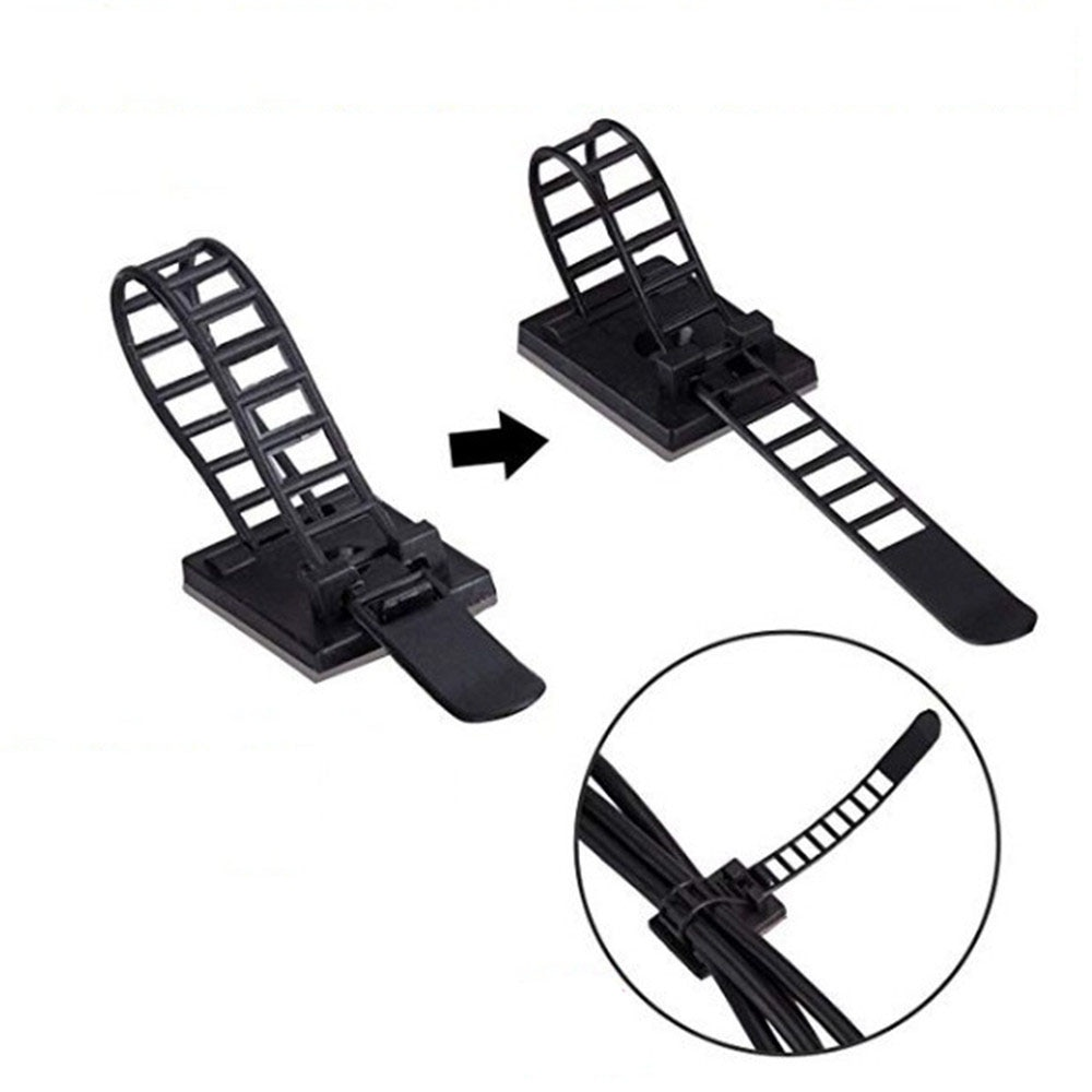 10pcs Self Adhesive Cable Clips 18*25mm Desk Table Cable Clamp Adjustable Earphone Wire Tie Line Fixer Cable Holder Wrap Cord 2
