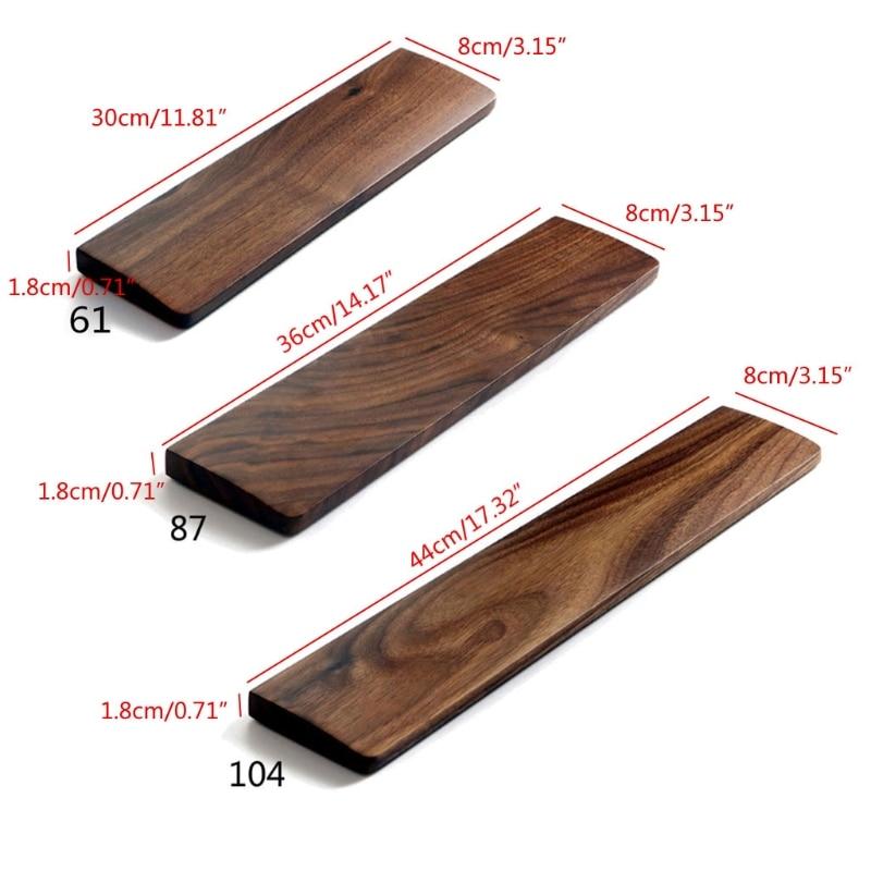 Walnut Wooden Mechanical Keyboard Wrist Rest with Anti-Slip Mat Ergonomic Gaming Desk Wrist Pad Support 61 87 104 Keys 6