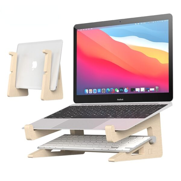 Wood Laptop Stand Holder Increased Height Storage stand for Macbook 13 15 Inch Notebook Vertical Base Cooling Stand Mount 1